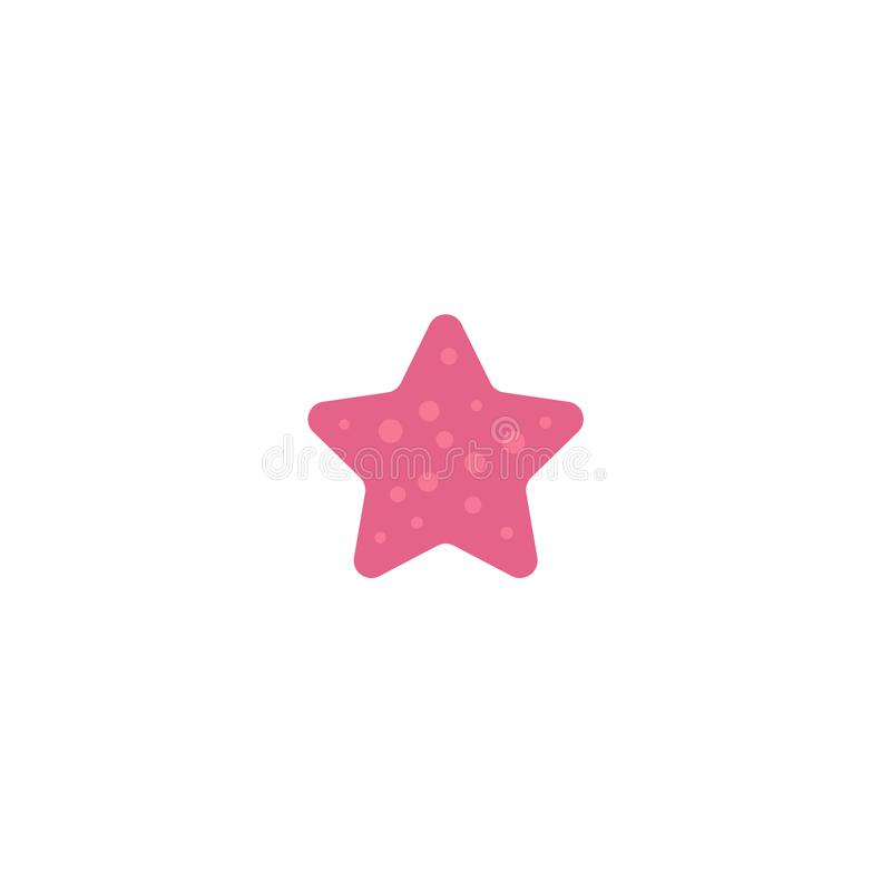 Επίπεδος χρωματισμένος ροζ αστερίας κινούμενων σχεδίων, ψάρια αστεριών απεικόνιση αποθεμάτων