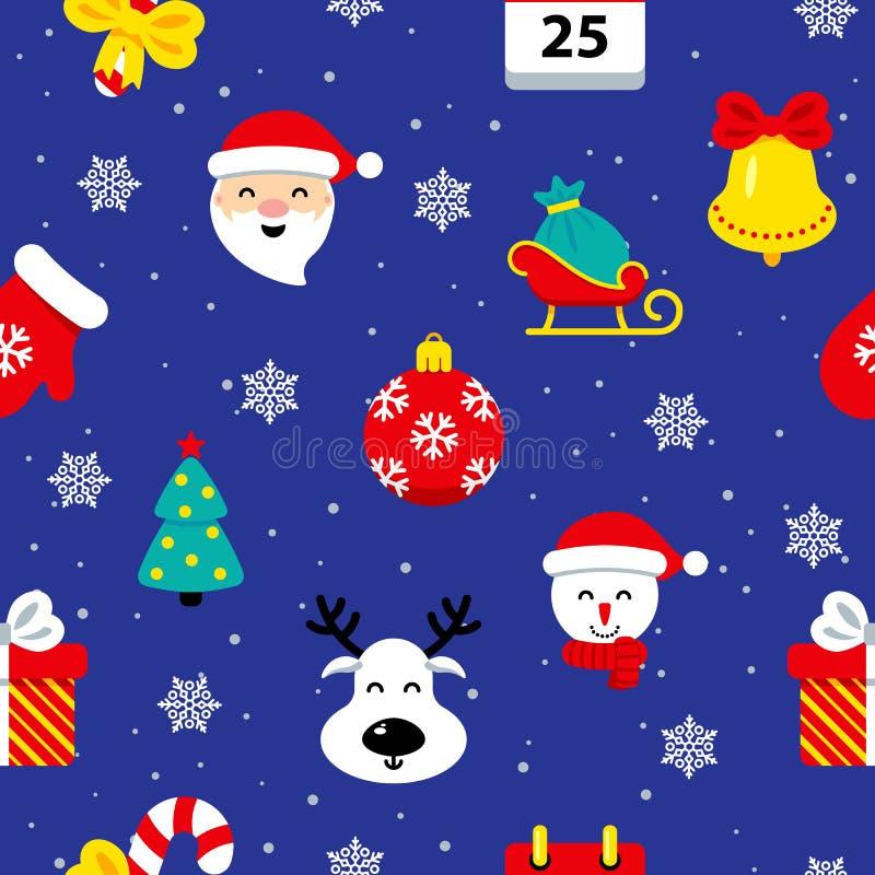 Επίπεδο άνευ ραφής σχέδιο Χριστουγέννων διανυσματική απεικόνιση