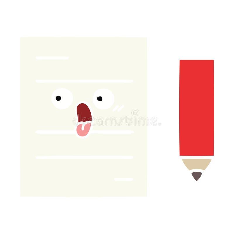 επίπεδο έγγραφο δοκιμής κινούμενων σχεδίων χρώματος αναδρομικό ελεύθερη απεικόνιση δικαιώματος