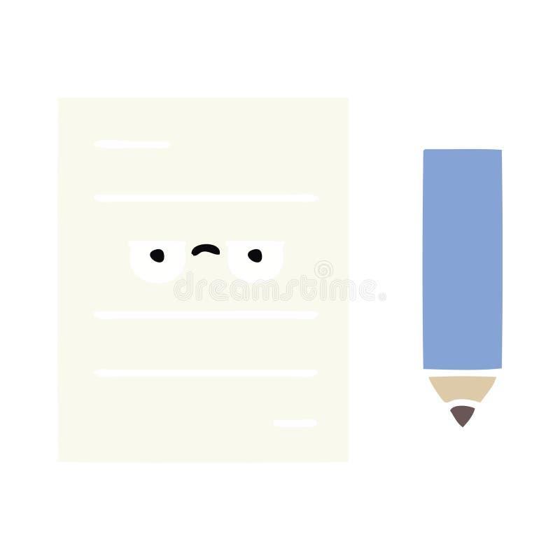 επίπεδο έγγραφο δοκιμής κινούμενων σχεδίων χρώματος αναδρομικό απεικόνιση αποθεμάτων