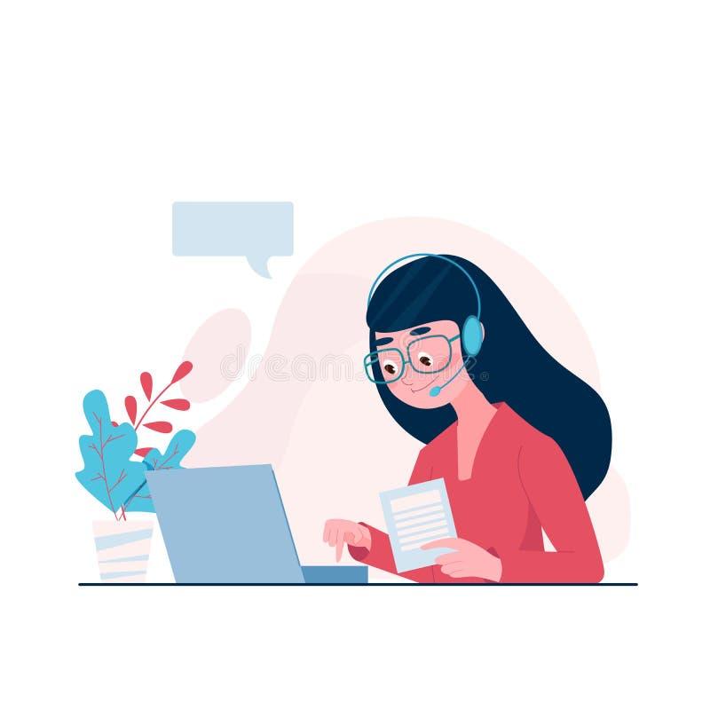 Επίπεδο έγγραφο εκμετάλλευσης χειριστών γυναικών ύφους και συμβουλευτικός πελάτης στην άμεση επικοινωνία Διανυσματική απεικόνιση  διανυσματική απεικόνιση