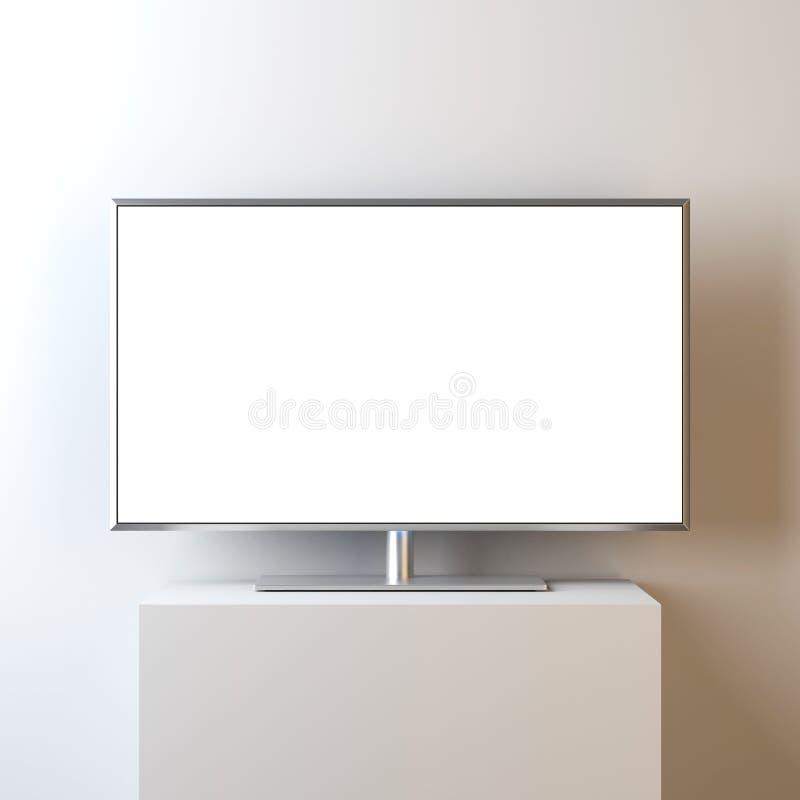 Επίπεδο έξυπνο πρότυπο TV με την κενή άσπρη οθόνη στη στάση, ρεαλιστική οδηγημένη TV ελεύθερη απεικόνιση δικαιώματος