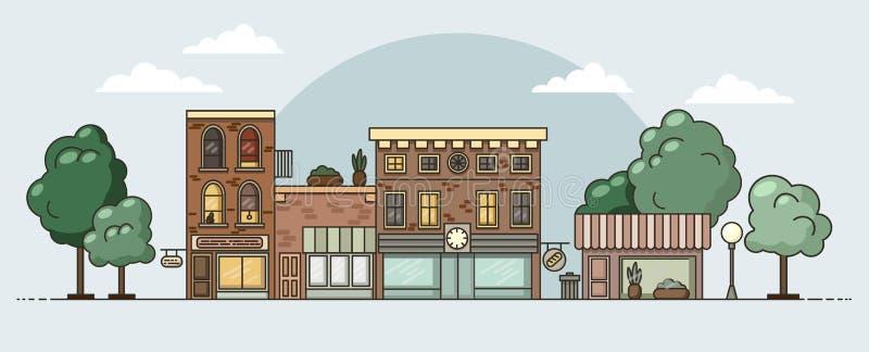 Επίπεδο αστικό ζωηρόχρωμο τοπίο σχεδίου επίσης corel σύρετε το διάνυσμα απεικόνισης απεικόνιση αποθεμάτων