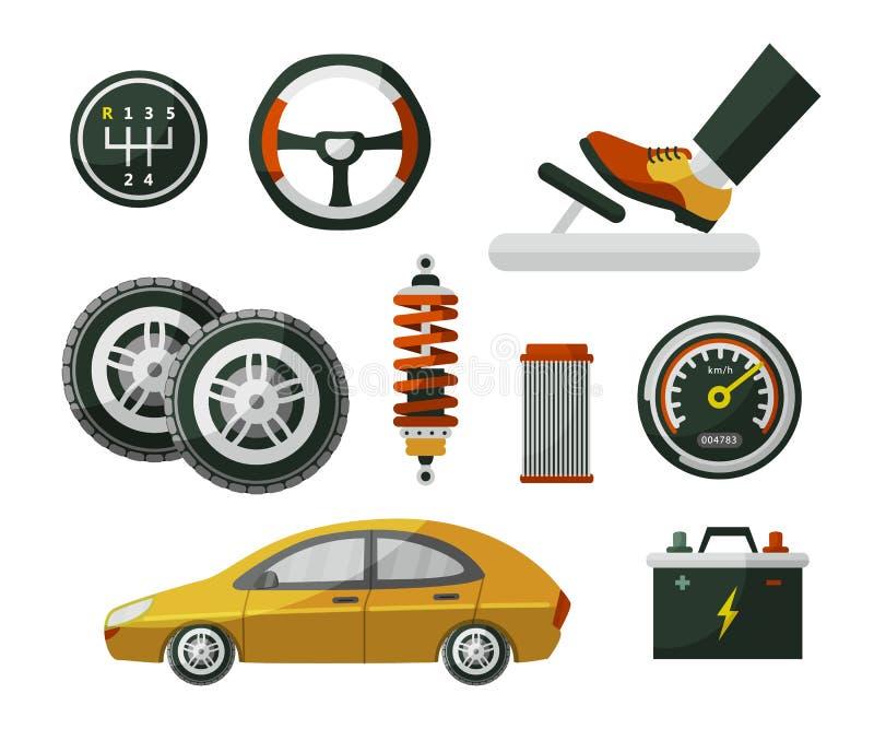 Επίπεδο αυτοκίνητο, αυτοκίνητο, αυτοκίνητο και σύνολο ύφους μερών διανυσματική απεικόνιση