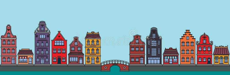 Επίπεδο γραμμικό πανόραμα του τοπίου πόλεων με τα κτήρια και τα σπίτια τουρισμός, ταξίδι στο Άμστερνταμ διανυσματική απεικόνιση
