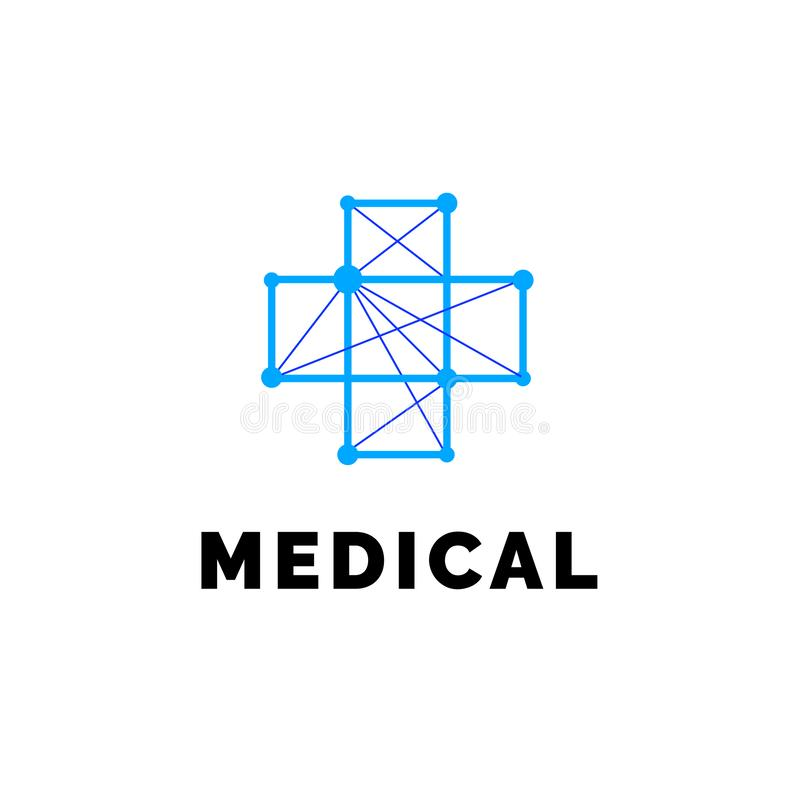 Επίπεδο γραμμών ιατρικής λογότυπο εμβλημάτων εικονιδίων μονοχρωματικό μπλε διανυσματική απεικόνιση