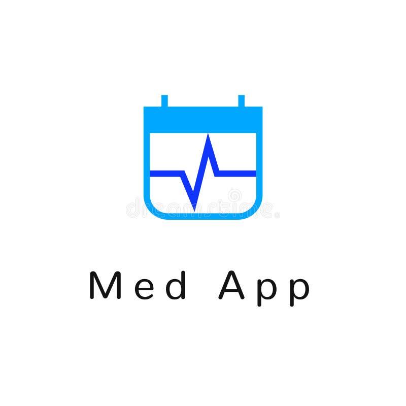 Επίπεδο γραμμών ιατρικής λογότυπο εμβλημάτων εικονιδίων μονοχρωματικό μπλε απεικόνιση αποθεμάτων