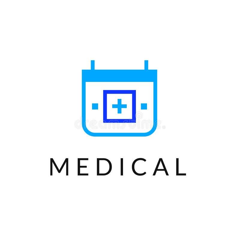 Επίπεδο γραμμών ιατρικής λογότυπο εμβλημάτων εικονιδίων μονοχρωματικό μπλε ελεύθερη απεικόνιση δικαιώματος
