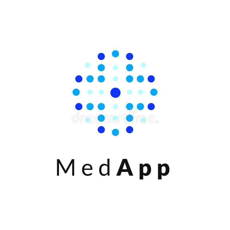 Επίπεδο γραμμών ιατρικής λογότυπο εμβλημάτων εικονιδίων μονοχρωματικό μπλε, σε απευθείας σύνδεση έννοια Ιστού απεικόνιση αποθεμάτων