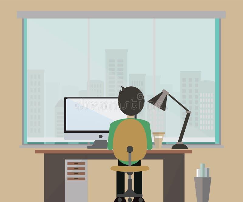 Επίπεδο γραφείο με ένα μεγάλο παράθυρο και ένα άτομο που λειτουργεί στον υπολογιστή στοκ εικόνες