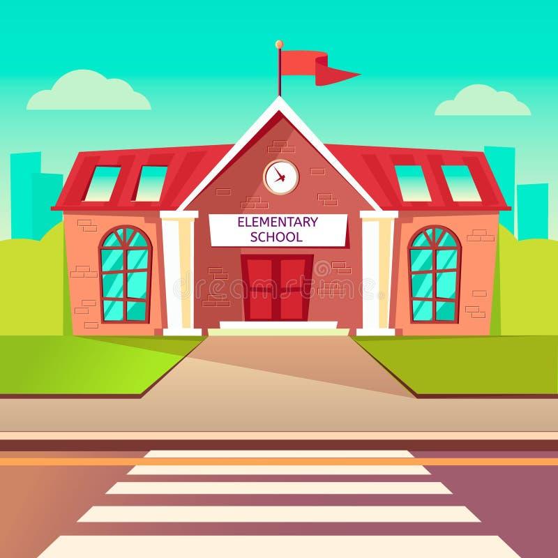 Επίπεδο διάνυσμα δημοτικών σχολείων buildung Πίσω στο υπόβαθρο σχολικών κινούμενων σχεδίων Διάβαση πεζών πριν από το σχολείο ελεύθερη απεικόνιση δικαιώματος