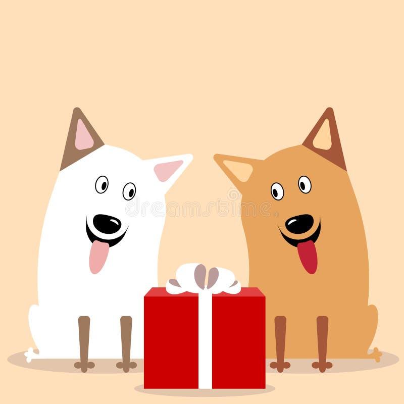 Επίπεδο διάνυσμα δύο χαριτωμένο σκυλιών ελεύθερη απεικόνιση δικαιώματος