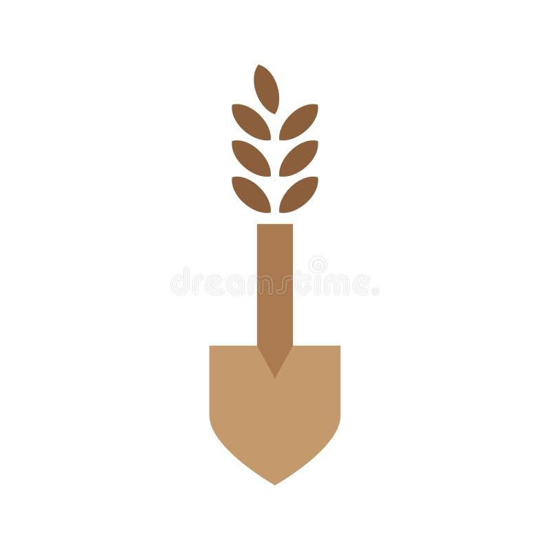 Επίπεδο διάνυσμα λογότυπων σχεδίου ρυζιού φτυαριών διανυσματική απεικόνιση