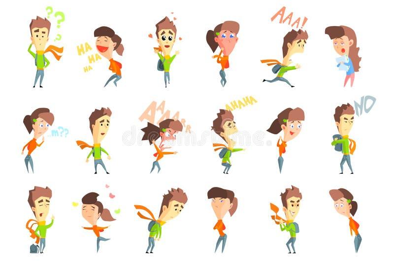 Επίπεδο διάνυσμα που τίθεται με το αγόρι και το κορίτσι κινούμενων σχεδίων που παρουσιάζουν διάφορες συγκινήσεις Στοχαστικός, γέλ διανυσματική απεικόνιση