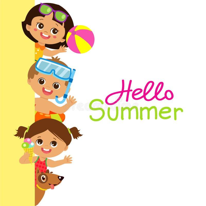 Επίπεδο διανυσματικό έμβλημα παιδιών απεικόνισης ευτυχές, ομάδα εύθυμων παιδιών στο άσπρο υπόβαθρο απεικόνιση αποθεμάτων