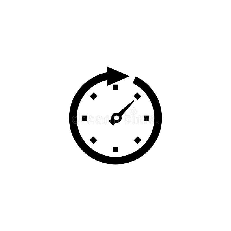 Επίπεδο διανυσματικό εικονίδιο βελών ρολογιών διανυσματική απεικόνιση