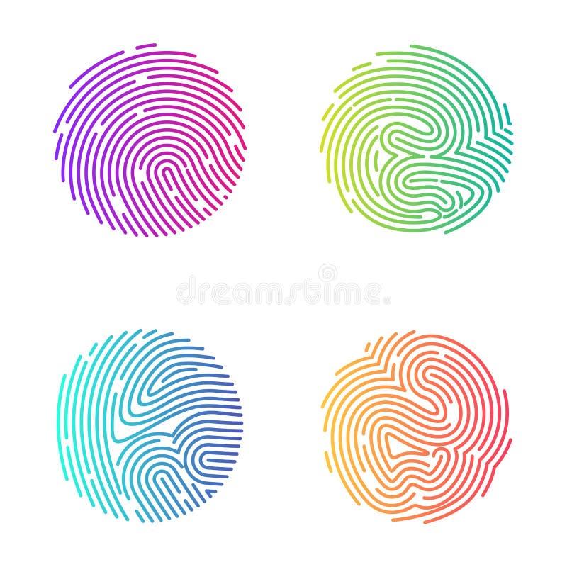 Επίπεδο διανυσματικό εικονίδιο λογότυπων δακτυλικών αποτυπωμάτων μαύρο στρογγυλό διανυσματική απεικόνιση