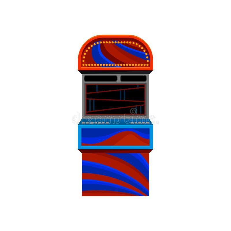 Επίπεδο διανυσματικό εικονίδιο μηχανής παιχνιδιών κόκκινος-μπλε arcade της τηλεοπτικής Θέμα ελεύθερου χρόνου και ψυχαγωγίας Στοιχ απεικόνιση αποθεμάτων