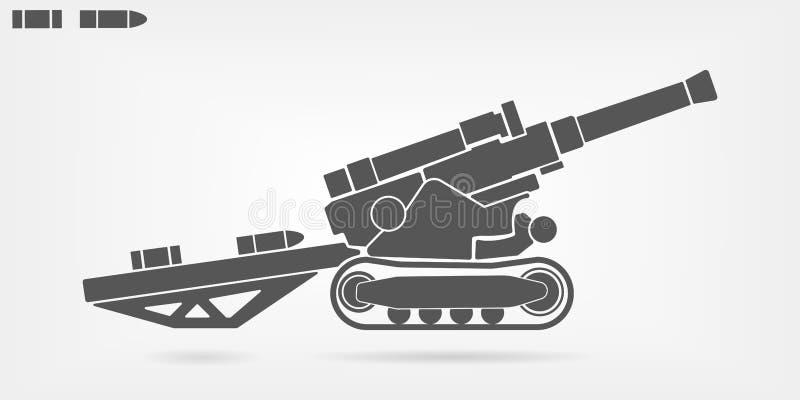 Επίπεδο διανυσματικό εικονίδιο πυροβολικού ελεύθερη απεικόνιση δικαιώματος