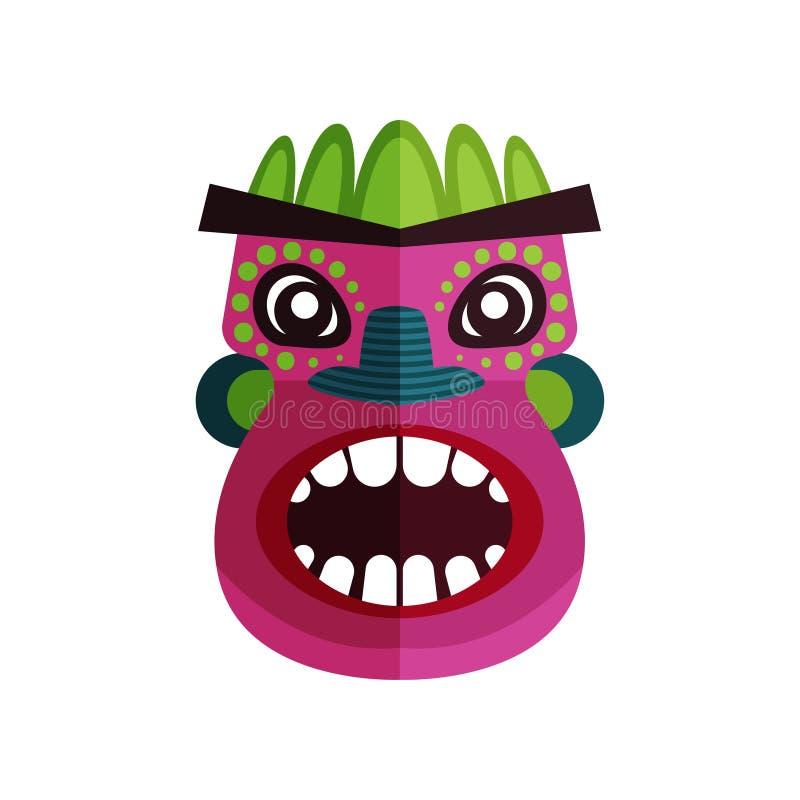Επίπεδο διανυσματικό εικονίδιο της ζουλού μάσκας Πρόσωπο με τις ζωηρόχρωμες διακοσμήσεις Παραδοσιακό σύμβολο των ιθαγενών, αφρικα απεικόνιση αποθεμάτων