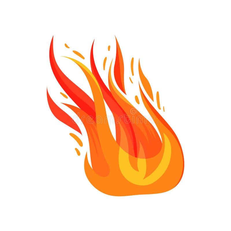 Επίπεδο διανυσματικό εικονίδιο της καμμένος πυρκαγιάς Φωτεινή κόκκινος-πορτοκαλιά φλόγα Σύμβολο της καυτών θερμοκρασίας και του κ ελεύθερη απεικόνιση δικαιώματος