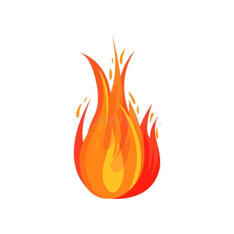 Επίπεδο διανυσματικό εικονίδιο της κόκκινος-πορτοκαλιάς πυρκαγιάς Φωτεινή φλογερή φλόγα Καίγοντας πυρά προσκόπων Σύμβολο της καυτ απεικόνιση αποθεμάτων