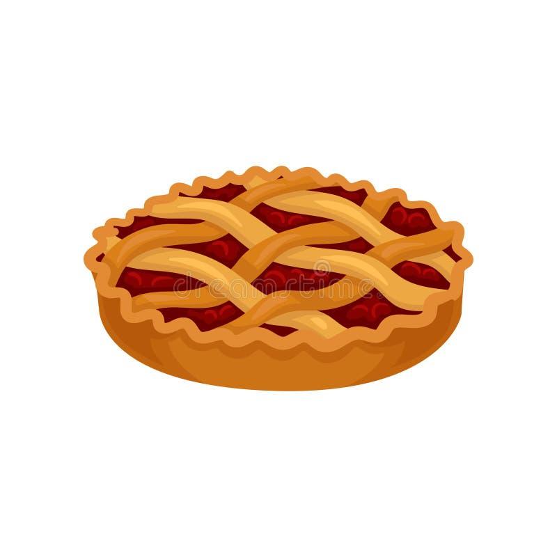 Επίπεδο διανυσματικό εικονίδιο της πρόσφατα ψημένης πίτας με την πλήρωση κερασιών Γλυκά τρόφιμα εύγευστο επιδόρπιο Στοιχείο για τ διανυσματική απεικόνιση
