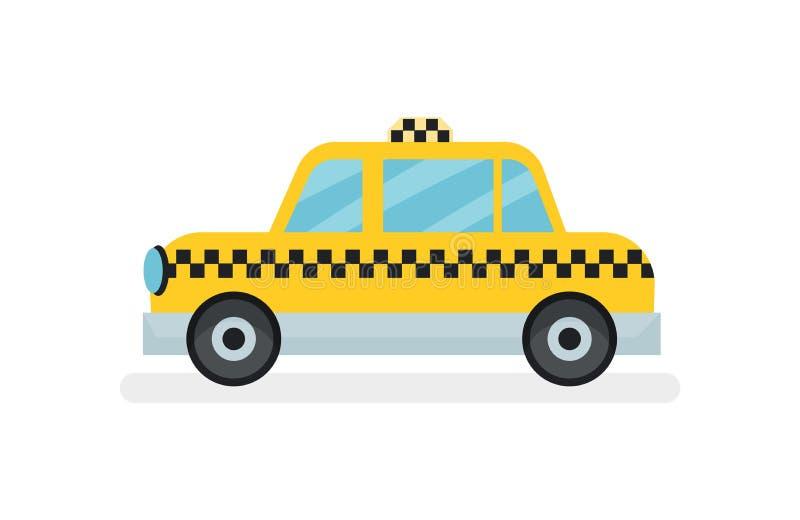 Επίπεδο διανυσματικό εικονίδιο του κλασικού κίτρινου αμαξιού ταξί Αυτοκίνητο επιβατών Θέμα αστικών μεταφορών απεικόνιση αποθεμάτων