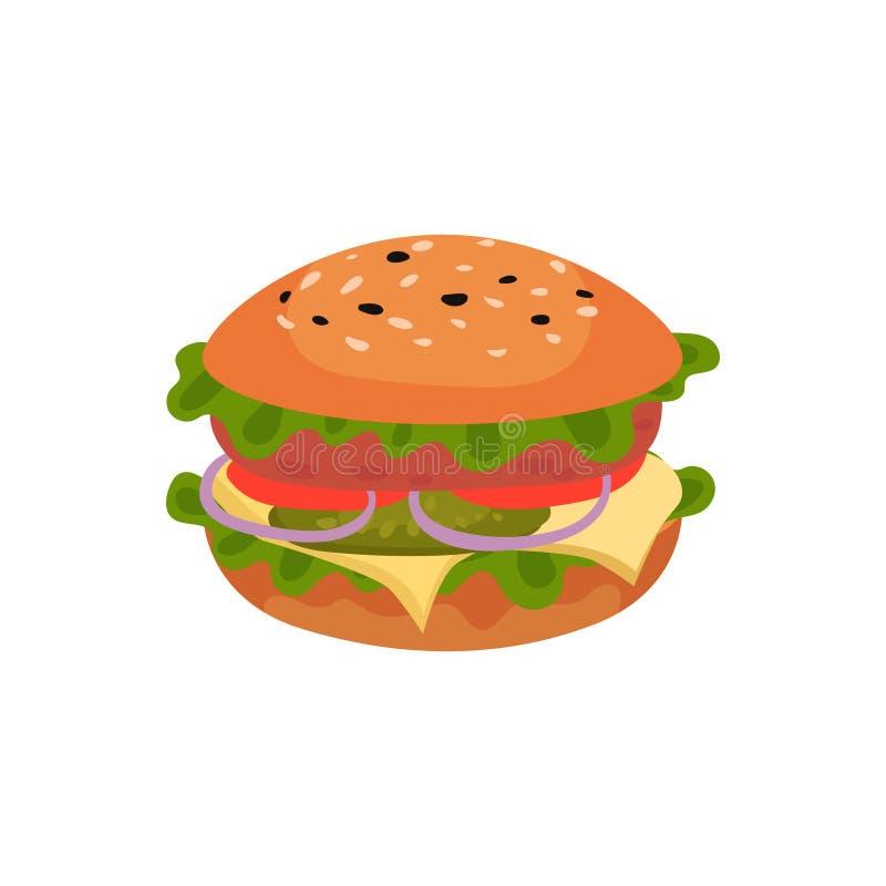 Επίπεδο διανυσματικό εικονίδιο του ορεκτικού σάντουιτς burger νόστιμο Γρήγορο φαγητό οδών Στοιχείο για τις επιλογές καφέδων ή εστ ελεύθερη απεικόνιση δικαιώματος