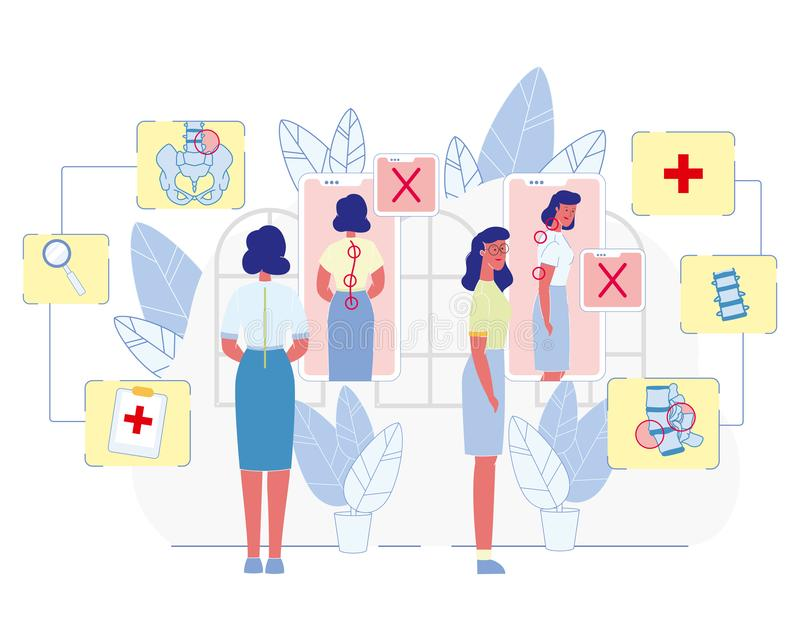 Επίπεδο διανυσματικό ιατρικό σχέδιο προβλήματος στάσης γυναικών απεικόνιση αποθεμάτων