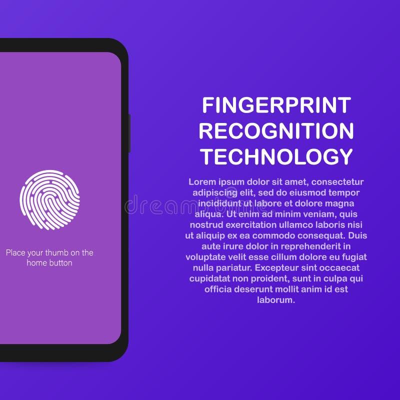 Επίπεδο διανυσματικό πρότυπο ιστοχώρου νέου αισθητήρων ταυτότητας δακτυλικών αποτυπωμάτων και προσδιορισμός δακτυλικών αποτυπωμάτ ελεύθερη απεικόνιση δικαιώματος