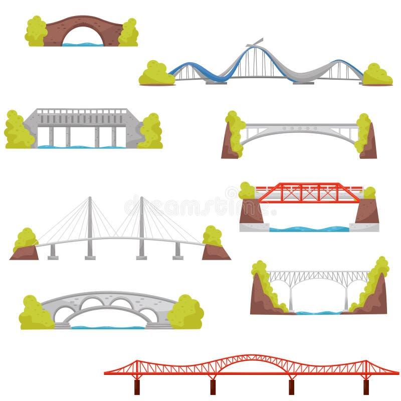 Επίπεδο διανυσματικό σύνολο γεφυρών πετρών, τούβλου και μετάλλων Στοιχεία κατασκευής πόλεων Θέμα αρχιτεκτονικής διανυσματική απεικόνιση