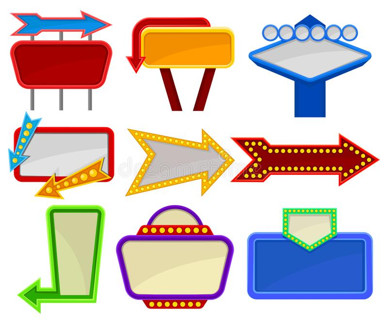 Επίπεδο διανυσματικό σύνολο διάφορων πινακίδων Φωτεινοί πίνακες διαφημίσεων με τη θέση για το κείμενο και βέλη με τους μικρούς λα διανυσματική απεικόνιση