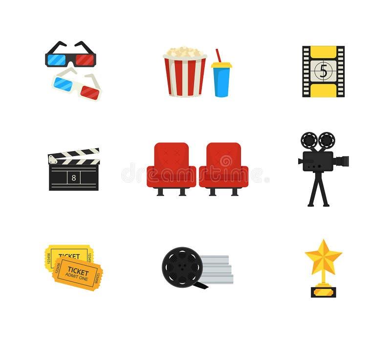Επίπεδο διανυσματικό σύνολο εικονιδίων κινηματογραφικών αιθουσών και κινηματογράφων Θέμα κινηματογραφίας διανυσματική απεικόνιση
