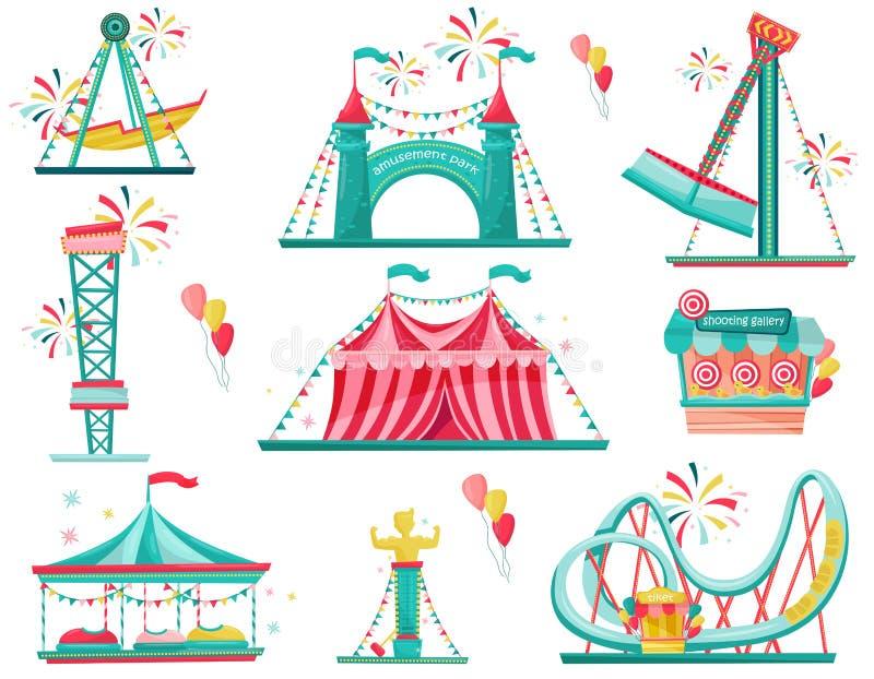 Επίπεδο διανυσματικό σύνολο εικονιδίων λούνα παρκ Έλξη Funfair, πύλη εισόδων, σκηνή τσίρκων και στοά πυροβολισμού απεικόνιση αποθεμάτων
