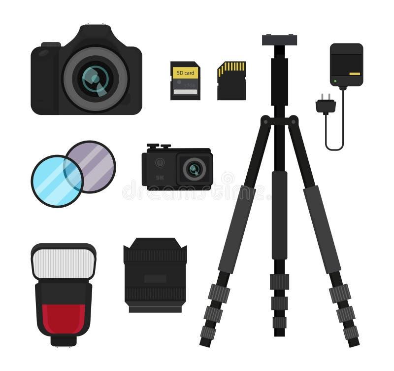 Επίπεδο διανυσματικό σύνολο εξοπλισμού φωτογραφιών Κάμερα DSLR, κάμερα δράσης, λάμψη, τρίποδο, φακός και φίλτρα, φορτιστής μπαταρ διανυσματική απεικόνιση