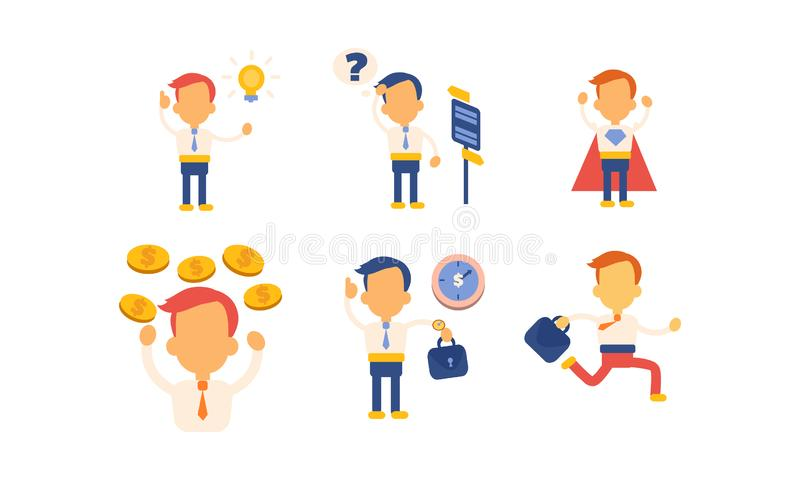 Επίπεδο διανυσματικό σύνολο εργαζομένου γραφείων στις διαφορετικές καταστάσεις επιχειρηματίας επιτυχής Χαρακτήρας του διευθυντή τ διανυσματική απεικόνιση