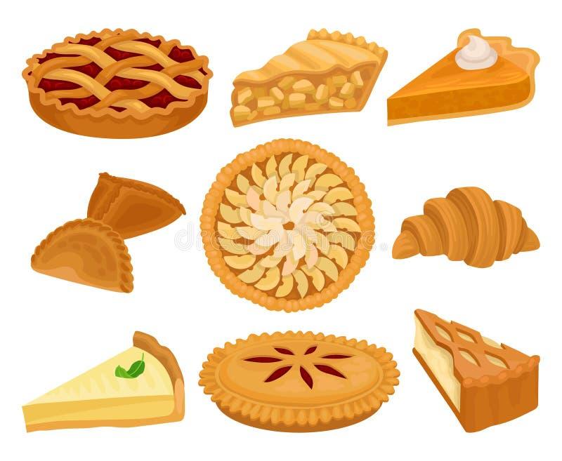 Επίπεδο διανυσματικό σύνολο εύγευστων προϊόντων αρτοποιίας Πίτες με τις διαφορετικές γαρνιτούρες, φρέσκοι croissant και cheesecak διανυσματική απεικόνιση