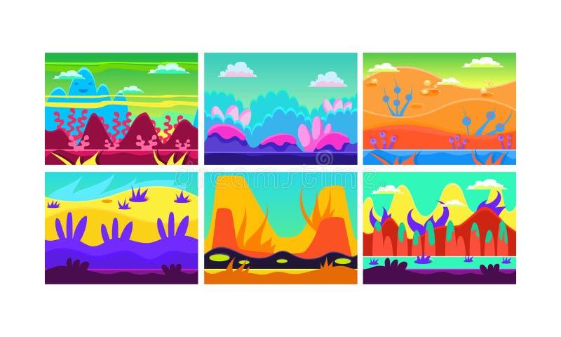 Επίπεδο διανυσματικό σύνολο 6 ζωηρόχρωμων οριζόντιων τοπίων για το κινητό παιχνίδι μαγικός κάθετος κόσμος φαντασίας βιβλίων ανασκ απεικόνιση αποθεμάτων