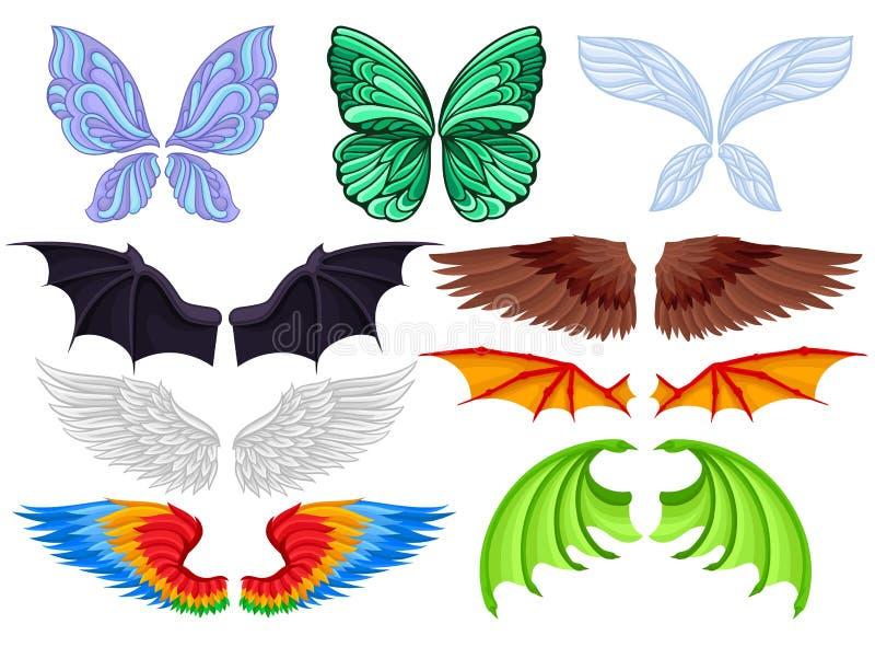 Επίπεδο διανυσματικό σύνολο ζωηρόχρωμων φτερών της διαφορετικής πεταλούδας, της νεράιδας, του ροπάλου, του πουλιού, του αγγέλου κ ελεύθερη απεικόνιση δικαιώματος