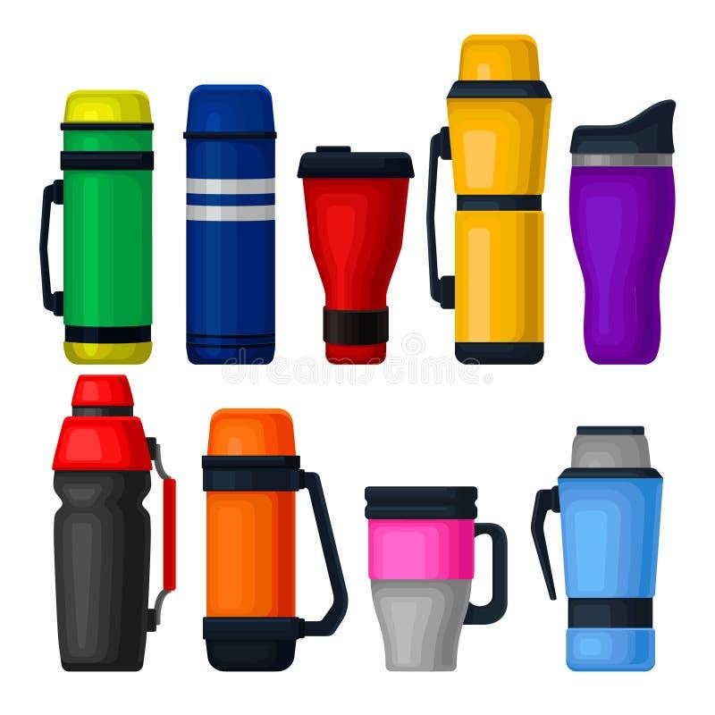Επίπεδο διανυσματικό σύνολο ζωηρόχρωμων thermos και θερμο κουπών Εμπορευματοκιβώτια αργιλίου για το τσάι ή τον καφέ Κενές φιάλες  διανυσματική απεικόνιση