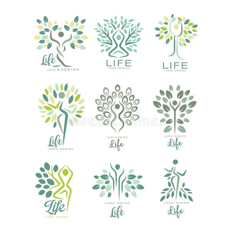 Επίπεδο διανυσματικό σύνολο προτύπων λογότυπων ζωής με τις σκιαγραφίες των ανθρώπινων και πράσινων φύλλων Αφηρημένα εμβλήματα για διανυσματική απεικόνιση