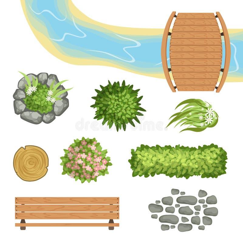 Επίπεδο διανυσματικό σύνολο στοιχείων τοπίων Ξύλινος γέφυρα και πάγκος, κολόβωμα, ποταμός, οι πράσινοι Μπους και λουλούδια, πορεί διανυσματική απεικόνιση