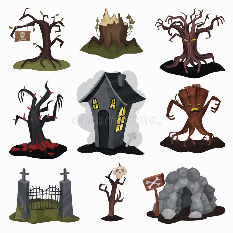 Επίπεδο διανυσματικό σύνολο φοβερών στοιχείων τοπίων Ανατριχιαστικό σπίτι, παλαιά ξηρά δέντρα, σπηλιά πετρών, παλαιά πύλη εισόδων ελεύθερη απεικόνιση δικαιώματος