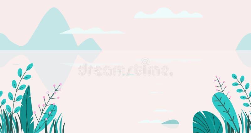 Επίπεδο διανυσματικό υπόβαθρο του τοπίου ηλιοβασιλέματος άνοιξη με τα ελάχιστα δέντρα, λίμνη, βουνά, λουλούδια, χλόη Φύση φαντασί απεικόνιση αποθεμάτων