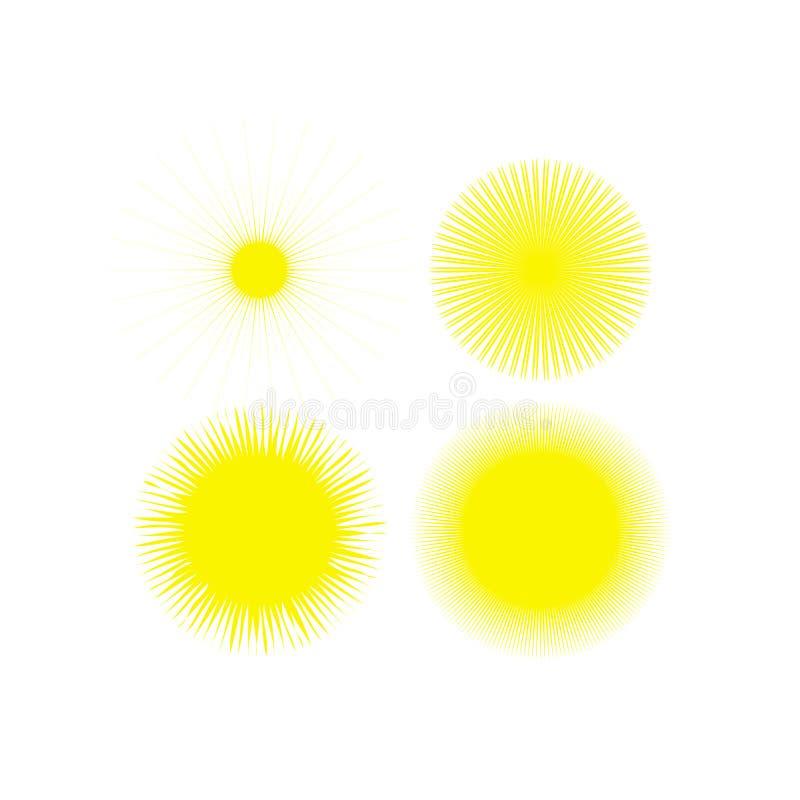 Επίπεδο εικονίδιο ήλιων Εικονόγραμμα ήλιων Καθιερώνον τη μόδα διανυσματικό θερινό σύμβολο για το σχέδιο ιστοχώρου, κουμπί Ιστού,  διανυσματική απεικόνιση
