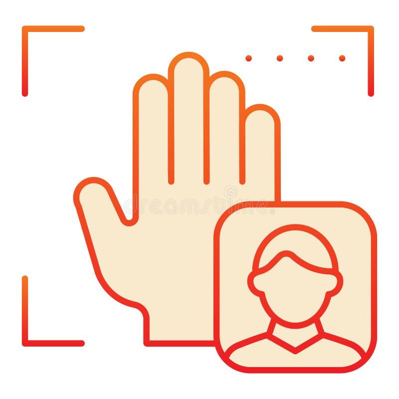 Επίπεδο εικονίδιο αναγνώρισης χρηστών φοινικών Εστίαση με τα κόκκινα εικονίδια τυπωμένων υλών χεριών στο καθιερώνον τη μόδα επίπε διανυσματική απεικόνιση