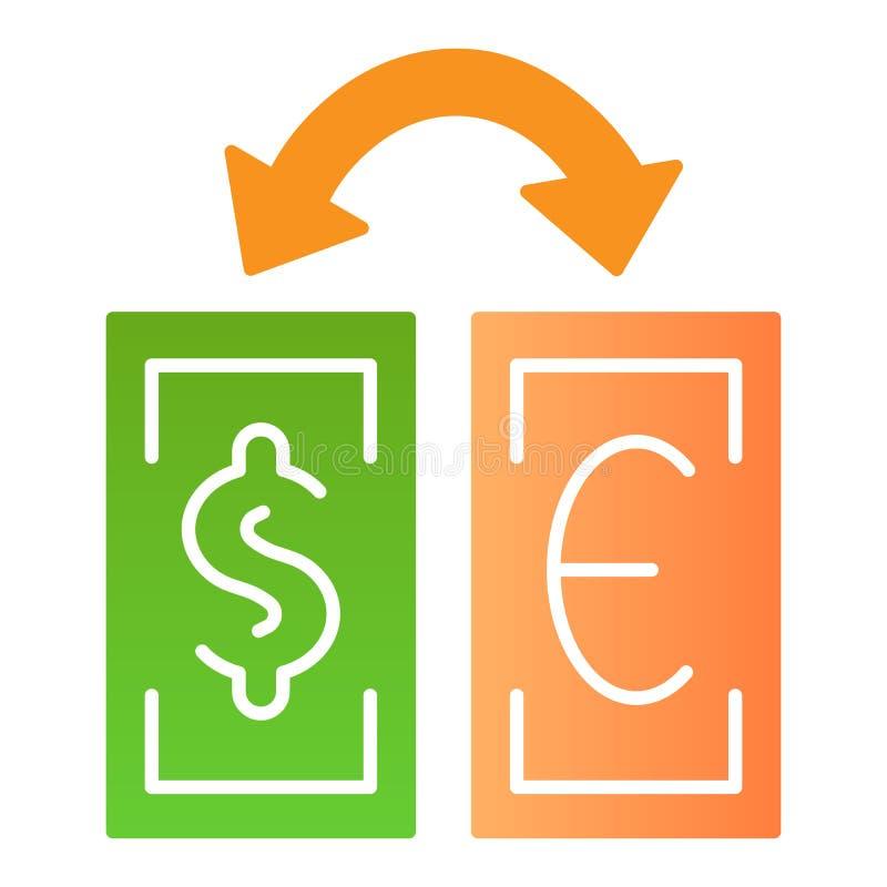 Επίπεδο εικονίδιο ανταλλαγής νομίσματος Δολάριο και ευρο- εικονίδια χρώματος ανταλλαγής στο καθιερώνον τη μόδα επίπεδο ύφος Τραπε ελεύθερη απεικόνιση δικαιώματος