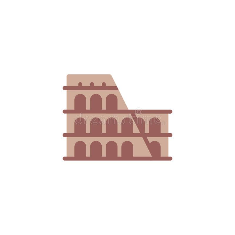 Επίπεδο εικονίδιο αρχιτεκτονικής της Ρώμης Coliseum απεικόνιση αποθεμάτων