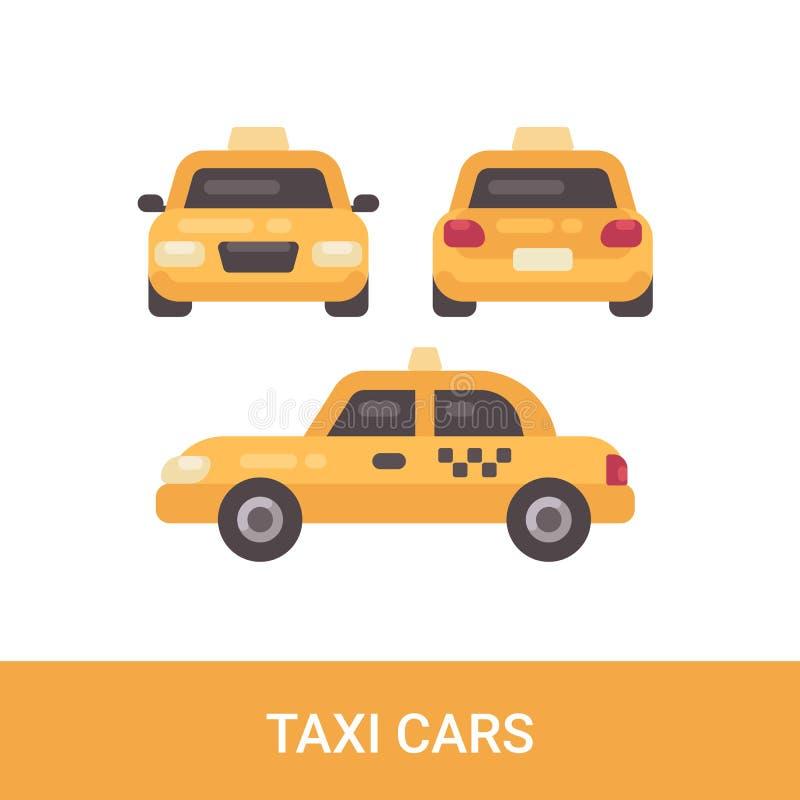 Επίπεδο εικονίδιο αυτοκινήτων ταξί Μπροστινές, πίσω και πλάγιες όψεις απεικόνιση αποθεμάτων